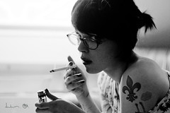 Soon (Dwam) Tags: blackandwhite tattoo glasses cigarette smoke smoking fleurdelys gainsbourg nya marylou dwam