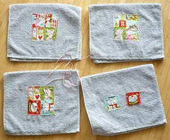 Catty Christmas towels - almost finished!