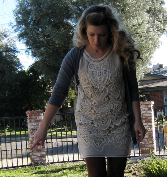bone flower lace cutout dress with gray cardigan and brown tights