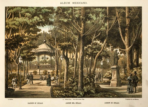 002-Jardin de Zocalo- Album Mexicano  Coleccion de Paisajes Monumentos Costumbres..1875-1855