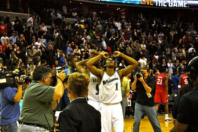 nick young, gilbert arenas, celebration, washington, wizards