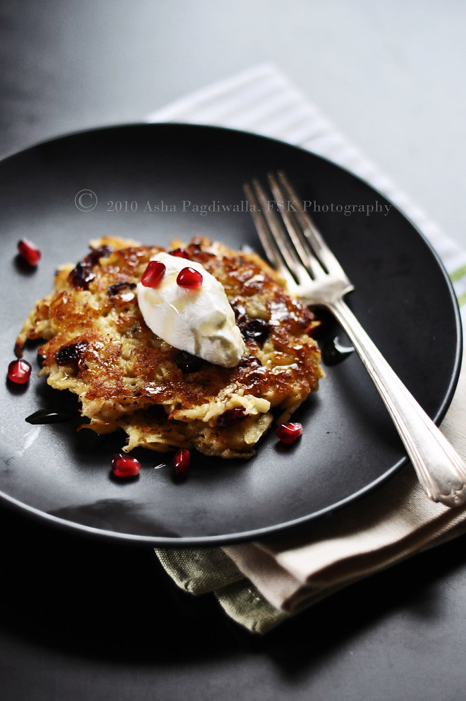 Apple and Cranberry Latkes with Yogurt and Honey