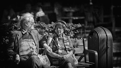 A Lifetime of Tenderness (Fouquier ॐ) Tags: couple clairobscur old folks texture bw streetphotography portrait streetlife chiaroscuro bokeh canonef85mmf12liiusm ƒ12 greyhair bench