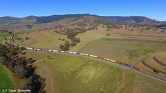 Rolling Hills (Dylan B`) Tags: qr qgr aurizon national pacific qld queensland south east border ranges glenapp rathdowney melbourne brisbane freight train countryside sunny foggy morning drone photography dji phantom 4 3 mavic pro nsw new wales
