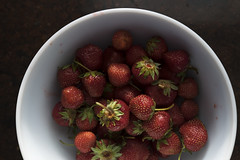 Local organic fresh picked goodness (Jacques Lebleu) Tags: organic tasty colorful good strawberries red wholesome local agriculture