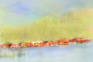 village coast water sea mountain nature paint painting texture highcoast worldheritagelist sweden magicunicornverybest ie irgittasjostedt