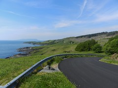 Road to Aird, Sleat, Isle of Skye, May 2017 (allanmaciver) Tags: aird point sleat isle skye west coast scotland coastal scenery bends sharp trees barrier new surface weather blue skies clouds allanmaciver