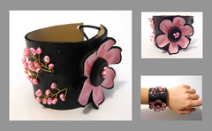 Leather floral bracelet. Pink flower and freshwater pearls leather cuff (julishland_) Tags: pink flower floral leather jewelry pinkflower bracelet wrist wristband cuffbracelet leathercuff leatherbracelet floralbracelet julishland