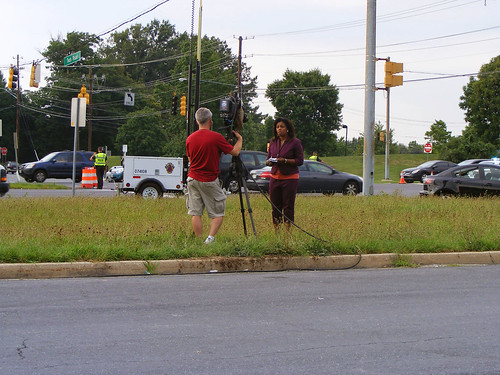 Channel 5 Reporting On Broken Stoplight at 29 and Tech Road