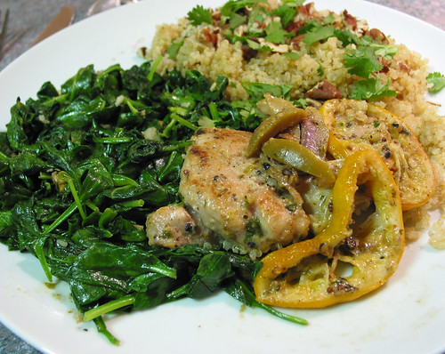 quinoa pilaf served as side dish with roasted Meyer chicken & sautéed baby spinach