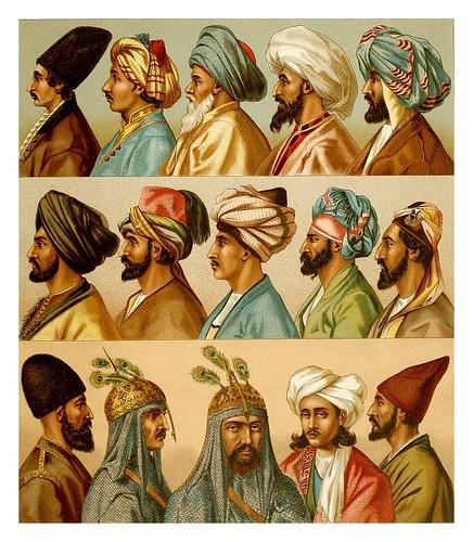 020-Turbantes y tocados-Persas-Afganos-Turcomanos-Indios –Kurdos y arabes-A. Racinet 1888