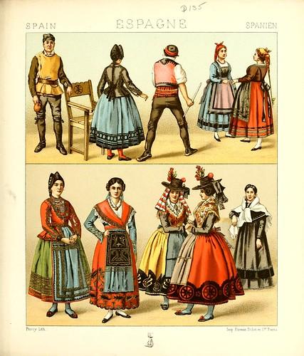 033-Vestimentas de Castilla y Aragon -Geschichte des kostüms in chronologischer entwicklung 1888- A. Racinet
