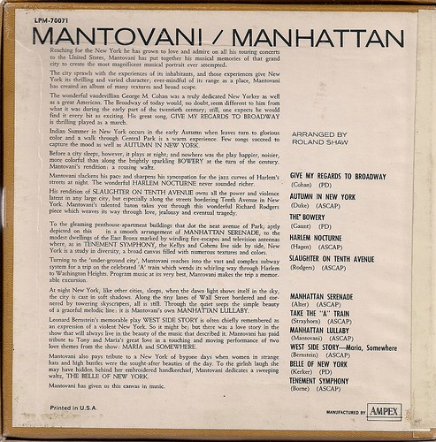1963 Mantovani - Manhattan (Reel to Reel - Back Cover)