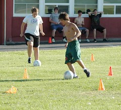 Running through the soccer drills.