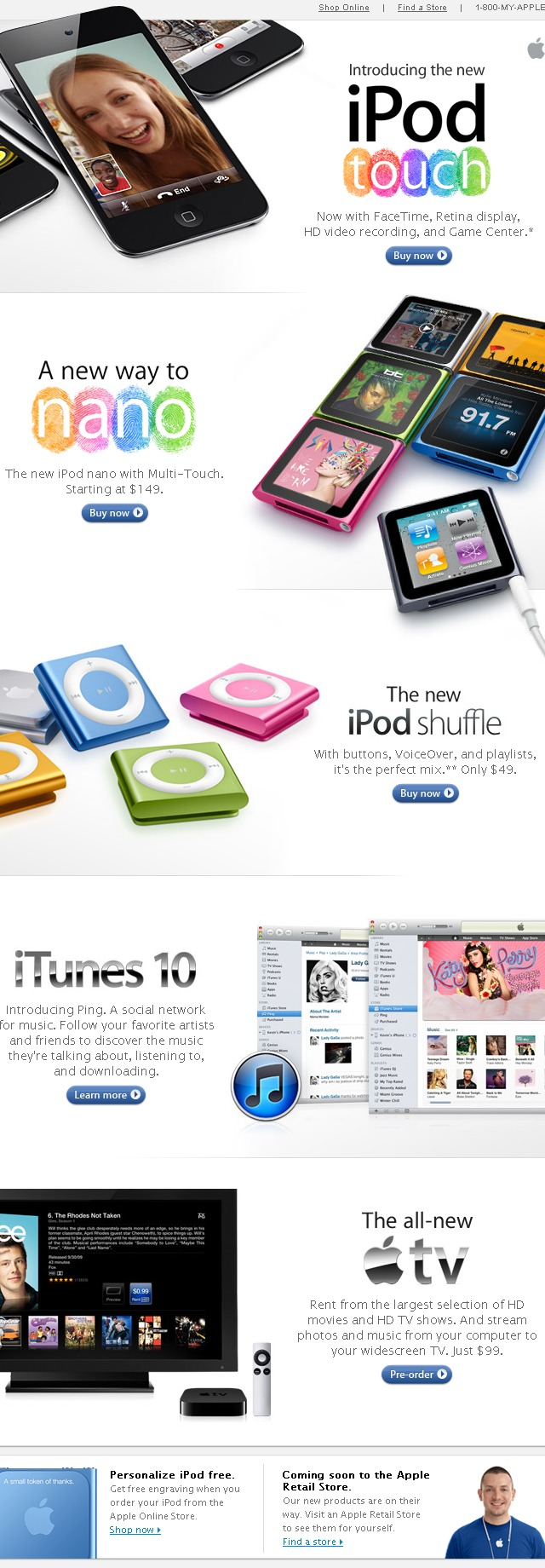 email Apple new iPods iTunes 10 TV