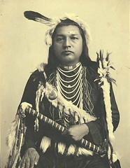Paul Shoaway, Umatilla Indian, in ceremonial dress, Washington (UW Digital Collections) Tags: portraits feathers hats umatilla franklaroche umatillatribe paulshoaway umatillaman