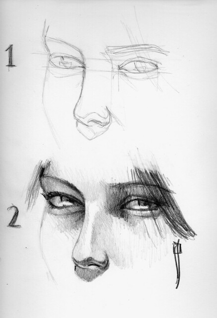 procesos de dibujo: drawing a nose / dibujando una nariz
