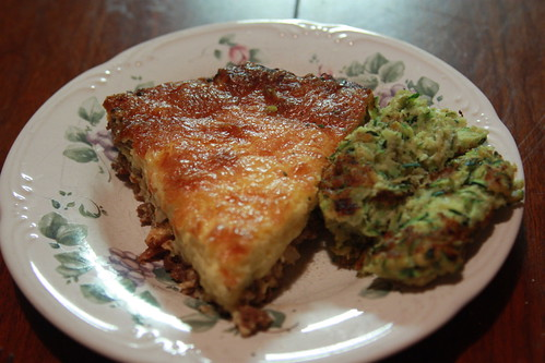 Bacon Cheeseburger Quiche with Zucchini fritters