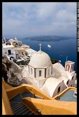 Nea Kameni e la chiesa di Fira - Santorini (Fabrizio Gattuso) Tags: panorama barca chiesa santorini grecia vista vulcano fira isola