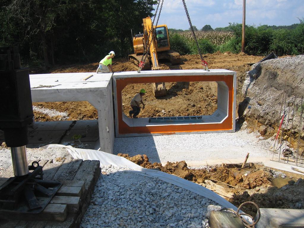 Installing precast concrete box culvert