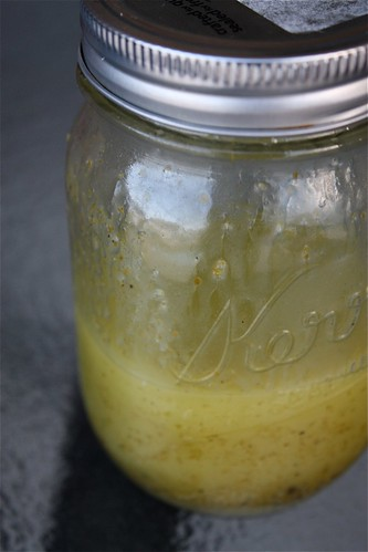mason jar of cilantro lime vinaigrette
