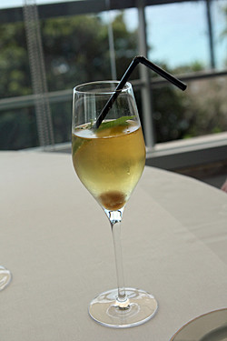 Champagne cocktail with lemon verbena