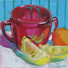 Red Sugar Bowl (PollyPainting) Tags: blue red yellow fruit lemon teal stripe apricot acrylicmixedmediacollagepaintpaintingstilllifepollyjonescolorfuletsywhitekitchenbrightart