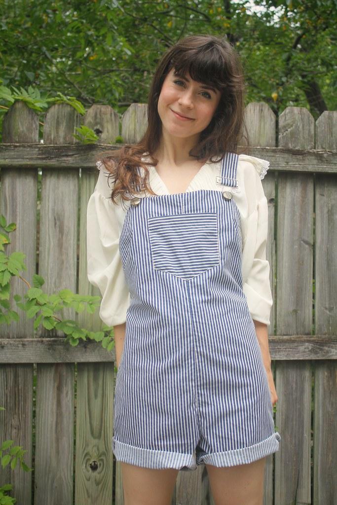 handmade railroad stripe overalls