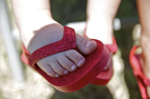 Ruby Red Flip Flops