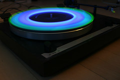 Glowstick Action @ 33 rpm :) (Audiotribe) Tags: blue green circle glow purple trails turntable ring trail glowstick thorens glowsticks 33rpm