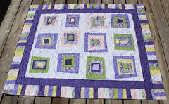 now & later quilt (sewinluv) Tags: pieced whitesashing quiltingwonkyblocksquiltswirlslongarmfreehandsewingpurple