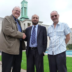 Lib Dem Group Leader Cllr Bob Sullivan congratulates new Cllr Mahmood Hussain with Nigel Louth