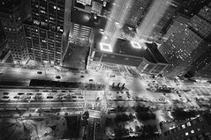 Tribute Lights III (Jay Fine) Tags: nyc blackandwhite manhattan 911 batteryparkcity weststreet batterygarage 911tributelights