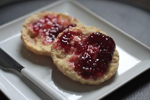 with raspberry jam