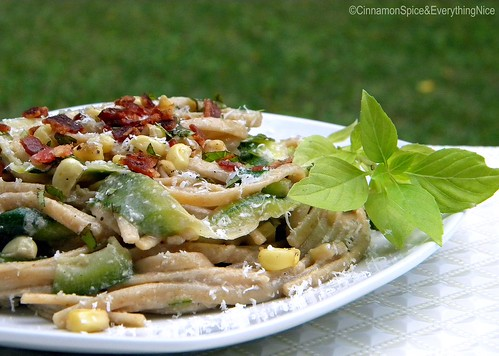 Zucchini Ribbons and Linguine with Bacon Corn Pesto