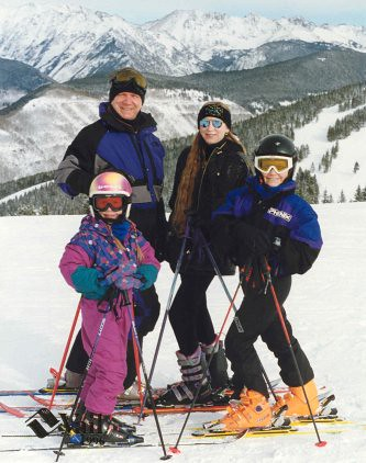 Homeschool P.E. with Christina (6 1/2), Terry, Deb, and Will (11 1/2) in Vail, Colorado, 1996.