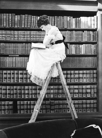 Woman reading on a ladder