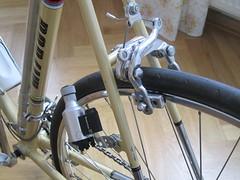 Rear brake and new dynamo. (Pim Rakers) Tags: bike bicycle vintage racing oldschool retro brake 1978 500 fahrrad touring gents basta tourney shimano dynamo rennrad wielrennen caliper miyata koga kogamiyata wielrenfiets gentstouring