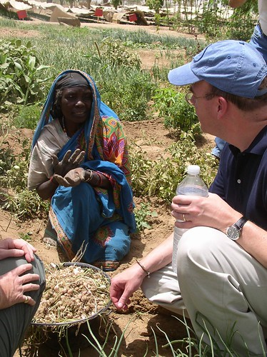 <B>Rep. Jim McGovern talks with Darfur woman at refugee camp in Chad</B>