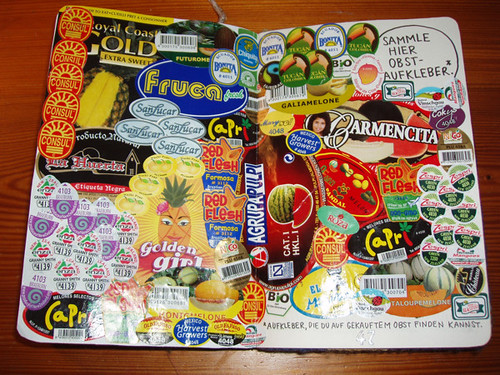 Wreck This Journal: Collect Fruit Stickers Here.