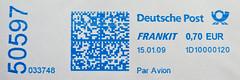 Germany meter stamp 70c Air Mail Luftpost par avion Poste arienne meter stamp 70c Deutschland Germany Allemagne stamp Briefmarke timbre mAir Mail Luftpost par avion stamp Briefmarke timbre meterstamp Stempel Freistempler (thx for sending stamps! :) stampolina) Tags: blue azul postes blauw blu azure stamp bleu porto blau timbre azzurro  niebieski mavi postage franco duitsland biru bleue airmail stempel philately paravion v