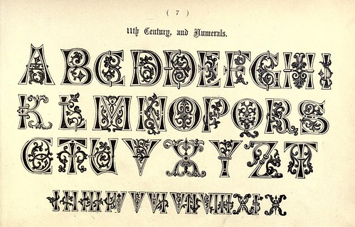 012-Letras y numeros siglo XI- The book of ornamental alphabets, ancient and mediaeval..1914-F. Delamotte