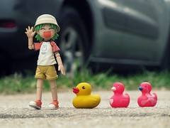69/365 Following the leader (Yoshi Gizmo) Tags: girl japan canon toy actionfigure japanese doll ducks powershot figure collectable yotsuba revoltech 365project sx200is yoshigizmo