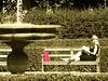 Red Bag 2 (wolfgraebel) Tags: woman sun feet fountain girl sunglasses bench buch lesen munich münchen book toes sommer bare brunnen goggles young bank blond hedge barefoot frau sonne soles mädchen sonnenbrille profil junge hofgarten rote zehen tasche hecke lesende sohlen barfus
