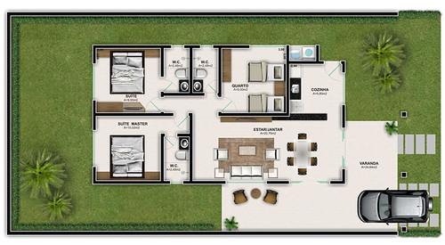 modelos de plantas com 3 quartos