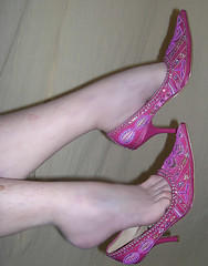 Hot pink shoes, high heels, dangle (Sugarbarre2) Tags: show urban woman macro me fashion closeup self vintage asian foot photo nikon toes purple mature wife oriental