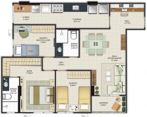 planta de casas com tres quartos