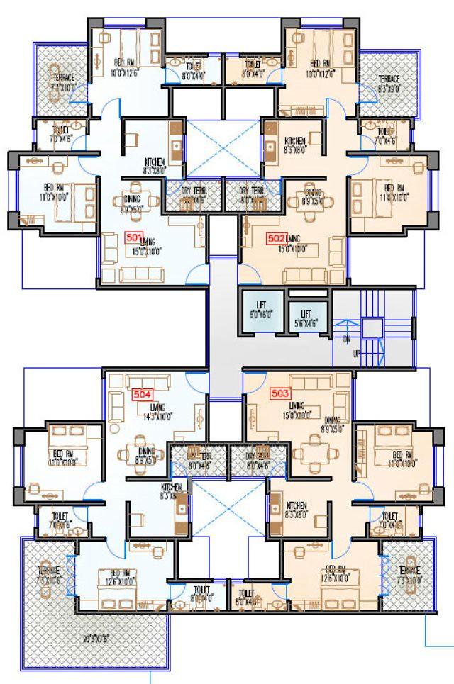 Navjeevan Properties'  Blue Bells, 2 BHK Flats opposite Pu La Deshpande Udyan on Sinhagad Road Floor Plan - 5th floor