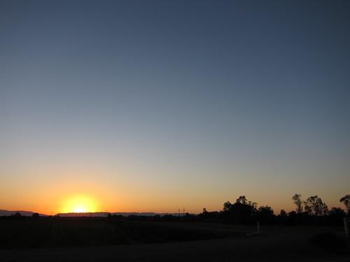 Le coucher de soleil en roulant vers San Francisco