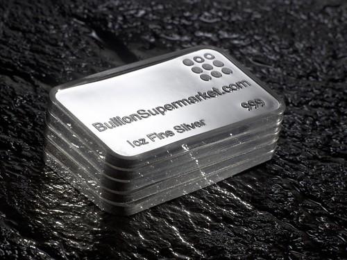 Silver 1 troy ounce bullion bars 999 fine silver x 5 ounces